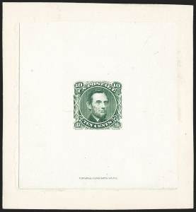 Sale Number 1158, Lot Number 4054, 1869 Issue, 10c Lincoln Essays (Scott 116-E1)10c Green, Lincoln Large Die Essay on India (116-E1c), 10c Green, Lincoln Large Die Essay on India (116-E1c)