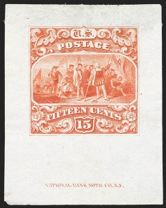 Sale Number 1158, Lot Number 4078, 1869 Issue, 15c Landing of Columbus Essays (Scott 118-E, 129-E)15c Scarlet, Small Numeral, Large Die Essay on India (118-E3; formerly 118-E1c), 15c Scarlet, Small Numeral, Large Die Essay on India (118-E3; formerly 118-E1c)