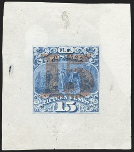 "Sale Number 1158, Lot Number 4079, 1869 Issue, 15c Landing of Columbus Essays (Scott 118-E, 129-E)15c Ultramarine, Ty. III, Large Die Proof on India, Red ""15"" Overprint (129-E1a), 15c Ultramarine, Ty. III, Large Die Proof on India, Red ""15"" Overprint (129-E1a)"