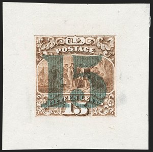 "Sale Number 1158, Lot Number 4081, 1869 Issue, 15c Landing of Columbus Essays (Scott 118-E, 129-E)15c Dark Red Brown, Ty. III, Large Die Proof on India, Blue Green ""15"" Overprint (129-E1c), 15c Dark Red Brown, Ty. III, Large Die Proof on India, Blue Green ""15"" Overprint (129-E1c)"