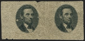 Sale Number 1158, Lot Number 4120, 1869 Issue, 90c Washington and Lincoln Essays (Scott 122-E)[90c] Black, Lincoln Vignette Only Plate Essay on Rough Pitted Thick Gray Paper (122-E4b), [90c] Black, Lincoln Vignette Only Plate Essay on Rough Pitted Thick Gray Paper (122-E4b)