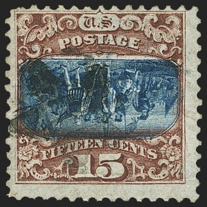 Sale Number 1159, Lot Number 140, 1869 Pictorial Issue (Scott 112-122)15c Brown & Blue, Ty. II, Center Inverted (119b), 15c Brown & Blue, Ty. II, Center Inverted (119b)