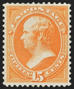 Sale Number 1159, Lot Number 167, 1873 Continental Bank Note Co. Issue (Scott 156-166)15c Yellow Orange (163), 15c Yellow Orange (163)