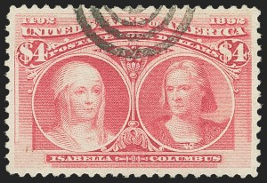 Sale Number 1159, Lot Number 205, 1893 Columbian Issue (Scott 230-245)$4.00 Rose Carmine (244a), $4.00 Rose Carmine (244a)
