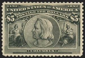 Sale Number 1159, Lot Number 206, 1893 Columbian Issue (Scott 230-245)$5.00 Columbian (245), $5.00 Columbian (245)