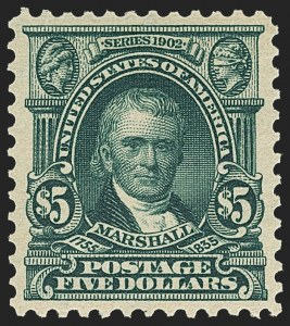 Sale Number 1159, Lot Number 219, 1902-08 Issues, Louisiana Purchase Issue (Scott 300-322, 327)$5.00 Dark Green (313), $5.00 Dark Green (313)