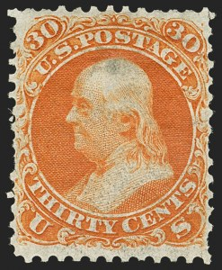 Sale Number 1159, Lot Number 83, 1861 First Designs and Colors (Scott 55-62)30c Red Orange, First Color (61), 30c Red Orange, First Color (61)