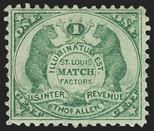 Sale Number 1160, Lot Number 804, Match Stamps, Akron thru Bowers & DunhamThos. Allen, 1c Green, Old Paper (RO5a), Thos. Allen, 1c Green, Old Paper (RO5a)
