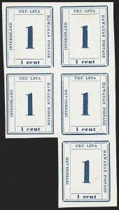 Sale Number 1161, Lot Number 1366, 1865 One-Cent Dark Blue (Scott 25)1865, 1c Dark Blue (25), 1865, 1c Dark Blue (25)