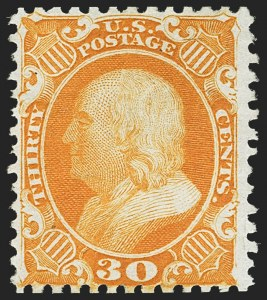 Sale Number 1162, Lot Number 124, 1875 Reprint of 1857-60 Issue (Scott 40-47)30c Yellow Orange, Reprint (46), 30c Yellow Orange, Reprint (46)