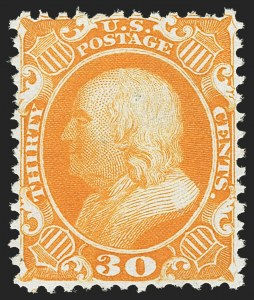 Sale Number 1162, Lot Number 125, 1875 Reprint of 1857-60 Issue (Scott 40-47)30c Yellow Orange, Reprint (46), 30c Yellow Orange, Reprint (46)