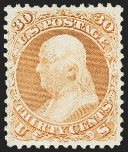 Sale Number 1162, Lot Number 142, 1861-66 Issue (Scott 56-78)30c Orange (71), 30c Orange (71)