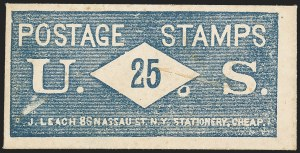 Sale Number 1162, Lot Number 154, Postage Currency and Encased PostageJ. LEACH, Writing Paper Envelopes and Blank Books, Cheap, 86 Nassau St., N.Y., 25 (Cents) U.S. Postage Stamps, J. LEACH, Writing Paper Envelopes and Blank Books, Cheap, 86 Nassau St., N.Y., 25 (Cents) U.S. Postage Stamps