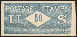Sale Number 1162, Lot Number 155, Postage Currency and Encased PostageJ. LEACH, Writing Paper Envelopes and Blank Books, Cheap, 86 Nassau St., N.Y., 50 (Cents) U.S. Postage Stamps, J. LEACH, Writing Paper Envelopes and Blank Books, Cheap, 86 Nassau St., N.Y., 50 (Cents) U.S. Postage Stamps