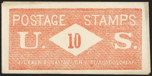 Sale Number 1162, Lot Number 157, Postage Currency and Encased PostageJ. LEACH, Writing Paper Envelopes and Blank Books, Cheap, 86 Nassau St., N.Y., 10 (Cents) U.S. Postage Stamps, J. LEACH, Writing Paper Envelopes and Blank Books, Cheap, 86 Nassau St., N.Y., 10 (Cents) U.S. Postage Stamps