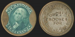 Sale Number 1162, Lot Number 160, Postage Currency and Encased PostageBrown's Bronchial Troches, Boston Mass., 10c Green (EP34), Brown's Bronchial Troches, Boston Mass., 10c Green (EP34)
