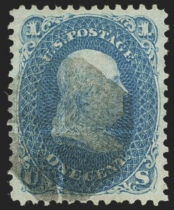 Sale Number 1162, Lot Number 182, 1867-68 Grilled Issue (Scott 79-101)1c Blue, F. Grill (92), 1c Blue, F. Grill (92)