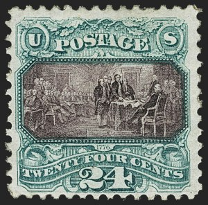 Sale Number 1162, Lot Number 235, 1875 Re-Issue of 1869 Pictorial Issue (Scott 123-133a)24c Green & Violet, Re-Issue (130), 24c Green & Violet, Re-Issue (130)