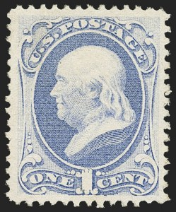 Sale Number 1162, Lot Number 240, 1870-71 National Bank Note Co. Grilled Issue (Scott 134-155)1c Pale Ultramarine, H. Grill (134 var), 1c Pale Ultramarine, H. Grill (134 var)