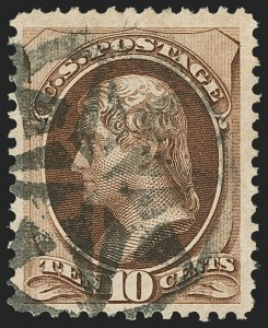 Sale Number 1162, Lot Number 243, 1870-71 National Bank Note Co. Grilled Issue (Scott 134-155)10c Brown, H. Grill (139), 10c Brown, H. Grill (139)