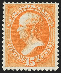 Sale Number 1162, Lot Number 256, 1870-71 National Bank Note Co. Grilled Issue (Scott 134-155)15c Bright Orange (152), 15c Bright Orange (152)