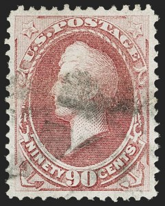 Sale Number 1162, Lot Number 258, 1870-71 National Bank Note Co. Grilled Issue (Scott 134-155)90c Carmine (155), 90c Carmine (155)