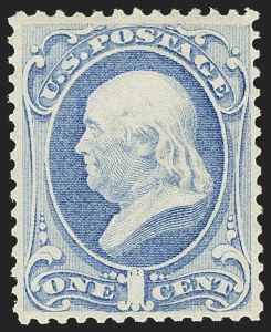 Sale Number 1162, Lot Number 260, 1873 Continental Bank Note Co. Issue (Scott 156-179)1c Ultramarine (156). Mint N.H, 1c Ultramarine (156). Mint N.H
