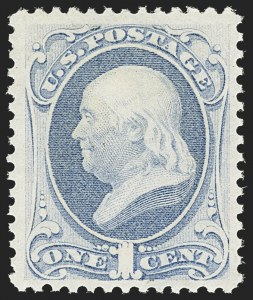 Sale Number 1162, Lot Number 261, 1873 Continental Bank Note Co. Issue (Scott 156-179)1c Pale Ultramarine (156 var). Mint N.H, 1c Pale Ultramarine (156 var). Mint N.H