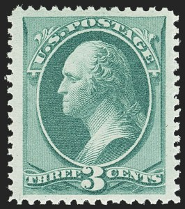 Sale Number 1162, Lot Number 264, 1873 Continental Bank Note Co. Issue (Scott 156-179)3c Green (158). Mint N.H, 3c Green (158). Mint N.H