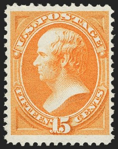 Sale Number 1162, Lot Number 269, 1873 Continental Bank Note Co. Issue (Scott 156-179)15c Yellow Orange (163), 15c Yellow Orange (163)