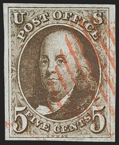 Sale Number 1162, Lot Number 28, 1847 Issue (Scott 1-2)5c Red Brown (1), 5c Red Brown (1)