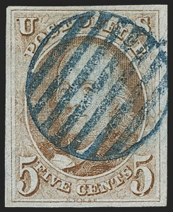 Sale Number 1162, Lot Number 29, 1847 Issue (Scott 1-2)5c Red Brown (1), 5c Red Brown (1)