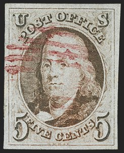 Sale Number 1162, Lot Number 30, 1847 Issue (Scott 1-2)5c Red Brown (1), 5c Red Brown (1)