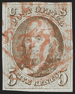 Sale Number 1162, Lot Number 31, 1847 Issue (Scott 1-2)5c Red Brown (1), 5c Red Brown (1)