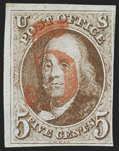 Sale Number 1162, Lot Number 33, 1847 Issue (Scott 1-2)5c Red Brown (1), 5c Red Brown (1)