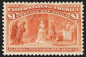 Sale Number 1162, Lot Number 334, 1893 Columbian Issue (Scott 230-245)$1.00 Columbian (241), $1.00 Columbian (241)
