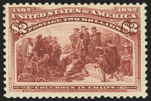 Sale Number 1162, Lot Number 337, 1893 Columbian Issue (Scott 230-245)$2.00 Columbian (242), $2.00 Columbian (242)