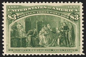 Sale Number 1162, Lot Number 338, 1893 Columbian Issue (Scott 230-245)$3.00 Olive Green, Columbian (243a), $3.00 Olive Green, Columbian (243a)