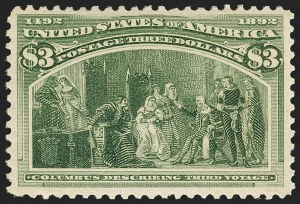 Sale Number 1162, Lot Number 340, 1893 Columbian Issue (Scott 230-245)$3.00 Olive Green, Columbian (243a), $3.00 Olive Green, Columbian (243a)