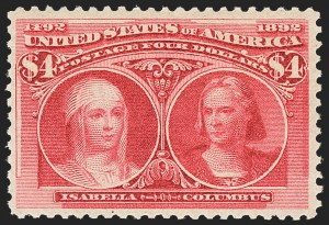 Sale Number 1162, Lot Number 341, 1893 Columbian Issue (Scott 230-245)$4.00 Columbian (244), $4.00 Columbian (244)