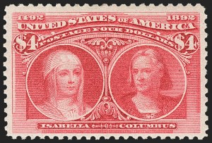 Sale Number 1162, Lot Number 342, 1893 Columbian Issue (Scott 230-245)$4.00 Columbian (244), $4.00 Columbian (244)