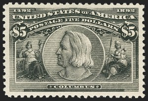 Sale Number 1162, Lot Number 343, 1893 Columbian Issue (Scott 230-245)$5.00 Columbian (245), $5.00 Columbian (245)