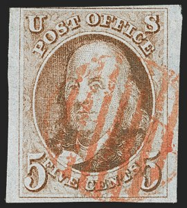 Sale Number 1162, Lot Number 35, 1847 Issue (Scott 1-2)5c Red Brown (1), 5c Red Brown (1)