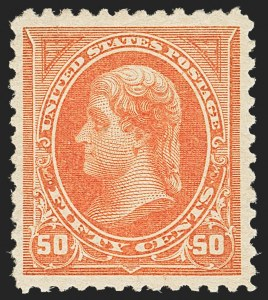 Sale Number 1162, Lot Number 354, 1894 Unwatermarked Bureau Issue (Scott 246-263)50c Orange (260), 50c Orange (260)