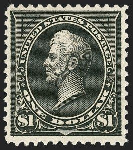 Sale Number 1162, Lot Number 366, 1895 Watermarked Bureau Issue (Scott 264-278)$1.00 Black, Ty. I (276), $1.00 Black, Ty. I (276)