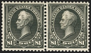 Sale Number 1162, Lot Number 368, 1895 Watermarked Bureau Issue (Scott 264-278)$1.00 Black, Ty. I-II (276-276A), $1.00 Black, Ty. I-II (276-276A)