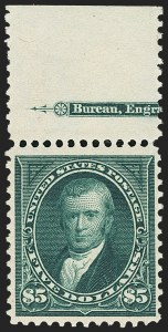 Sale Number 1162, Lot Number 375, 1895 Watermarked Bureau Issue (Scott 264-278)$5.00 Dark Green (278), $5.00 Dark Green (278)