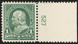 Sale Number 1162, Lot Number 377, 1895 Watermarked Bureau Issue (Scott 264-278)1c Deep Green (279), 1c Deep Green (279)