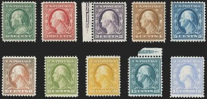 "Sale Number 1162, Lot Number 449, 1908-10 Washington-Franklin Issues (Scott 331-356)1c-15c ""China Clay"" Paper Varieties (331 var-340 var), 1c-15c ""China Clay"" Paper Varieties (331 var-340 var)"