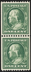 Sale Number 1162, Lot Number 456, 1908-10 Washington-Franklin Issues (Scott 331-356)1c Green, Coil (348), 1c Green, Coil (348)